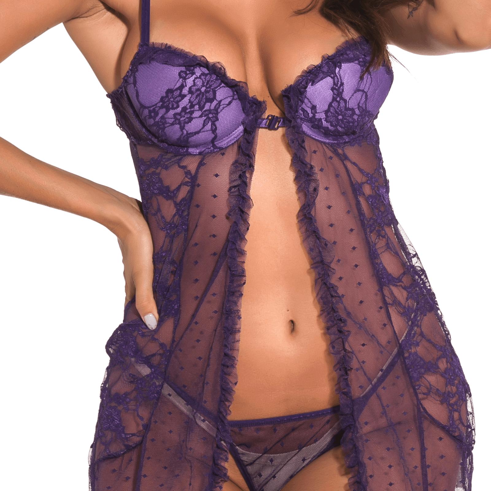 Lendgogo Sexy Purple Lace Lingerie