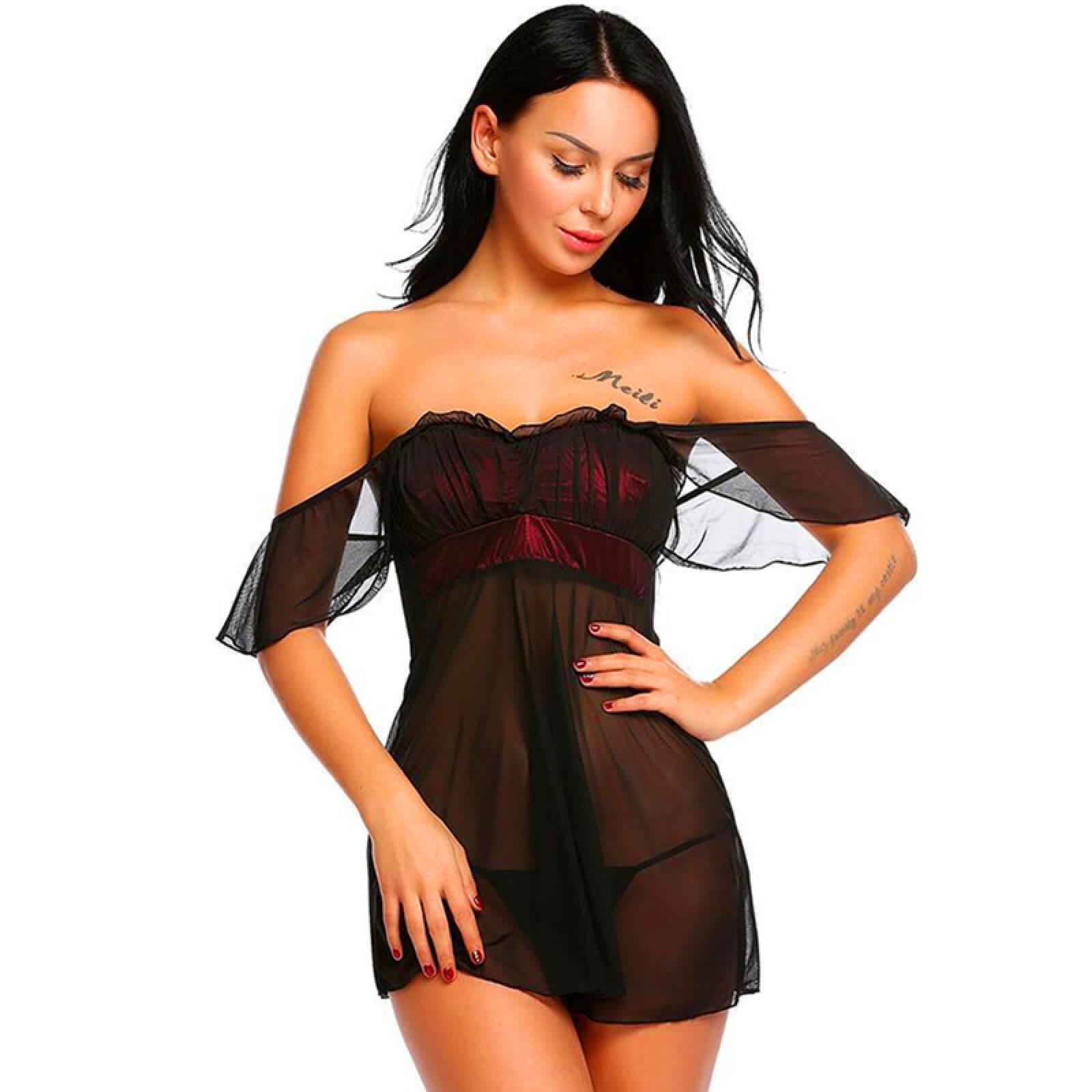 Lendgogo One-shoulder Lace Sexy Pajamas