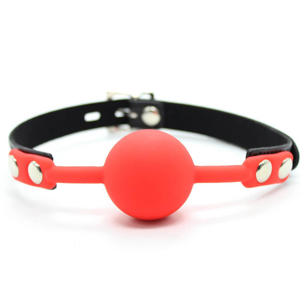 Hitinight SM Silicone Ball Gag With Lock Leather Strap